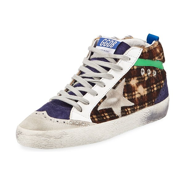 Golden Goose Mid Star Plaid Calf Hair Mid-Top Sneakers in multi pattern