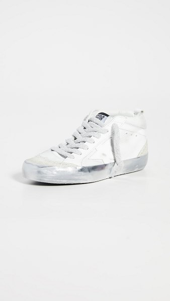 Golden Goose mid star sneakers in snow/sparkle