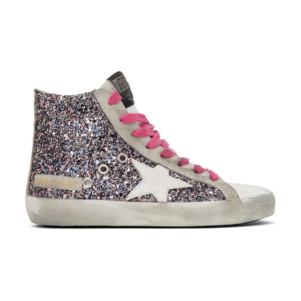 Golden Goose multicolor and  glitter francy sneakers in grey