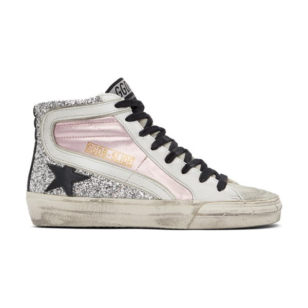 Golden Goose pink and silver slide sneakers in pink,silv