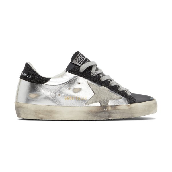 Golden Goose silver and black super-star sneakers in white,black