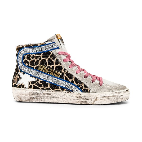 Golden Goose slide sneaker in animalier  silver glitter & white star