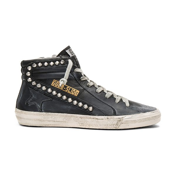 Golden Goose slide sneaker in black leather studs