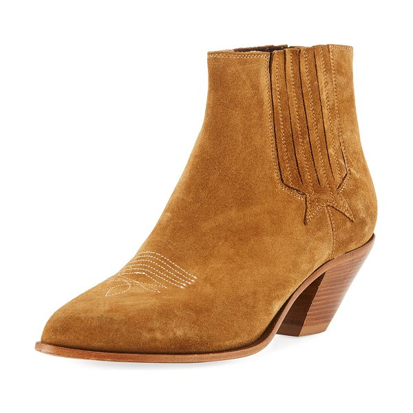 Golden Goose Sunset Suede Cowboy Ankle Boot in cuoio