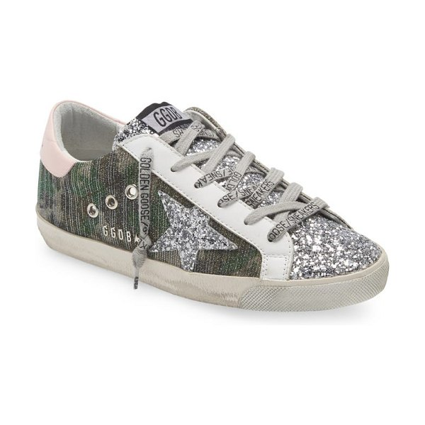 Golden Goose super-star low top sneaker in green/ silver/ pink/ white
