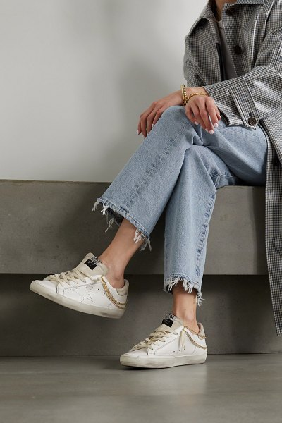 Golden Goose superstar chain-embellished distressed leather and suede sneakers in white