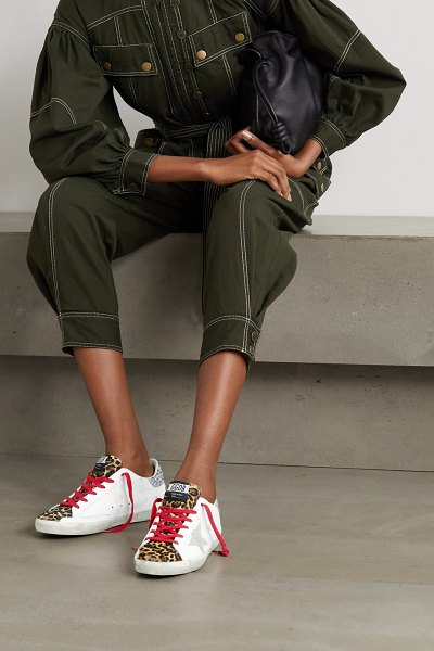 Golden Goose superstar distressed leopard-print calf hair, leather and suede sneakers in white