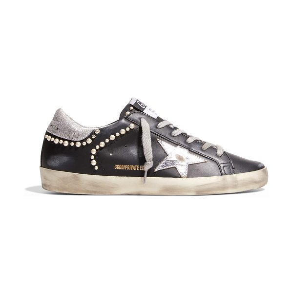 Golden Goose Superstar Pearly Stud Leather Sneakers in black leather sil