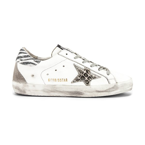Golden Goose superstar sneaker in white glitter & animalier star