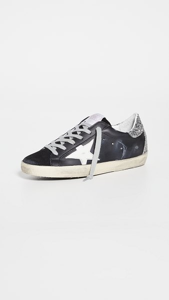 Golden Goose superstar sneakers in black/white/silver