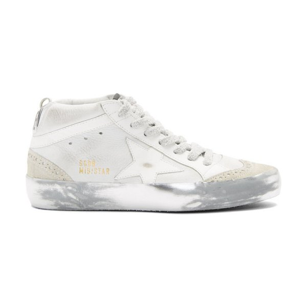 Golden Goose white sparkle sole mid star sneakers in snow
