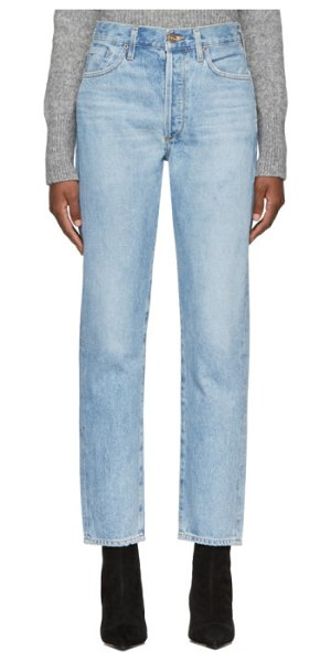 GOLDSIGN blue the benefit high rise jeans in marbled blu