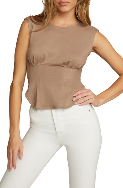 GOOD AMERICAN corset t-shirt in taupe001