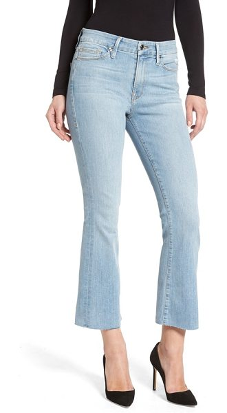 GOOD AMERICAN crop raw edge bootcut jeans - Raw-edge hems highlight the trendy cropped-bootcut...