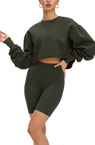 GOOD AMERICAN cropped & cool french terry sweatshirt in hunter
