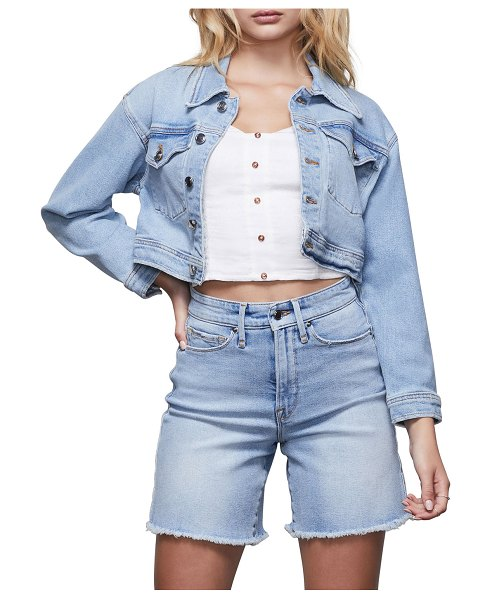 GOOD AMERICAN Cropped Jean Jacket in blue427