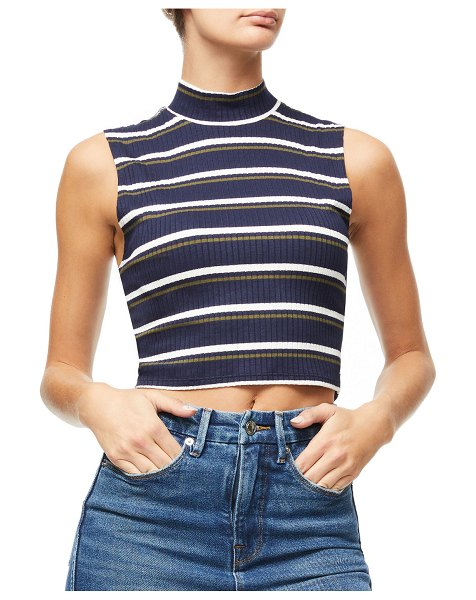 GOOD AMERICAN Cropped Sleeveless Mock-Neck Top - Inclusive Sizing in blue/white