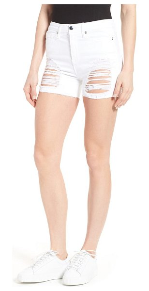 GOOD AMERICAN destroyed cutoff denim shorts in white 004
