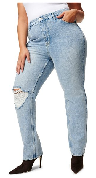 GOOD AMERICAN good 90s high waist loose fit nonstretch jeans in blue725