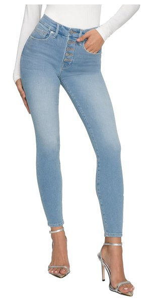 GOOD AMERICAN good legs button fly ankle skinny jeans in blue613