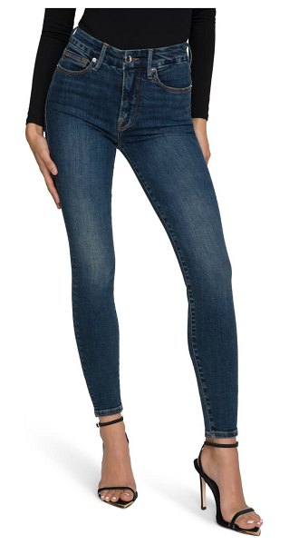 GOOD AMERICAN good legs deep-v high waist ankle skinny jeans in blue609