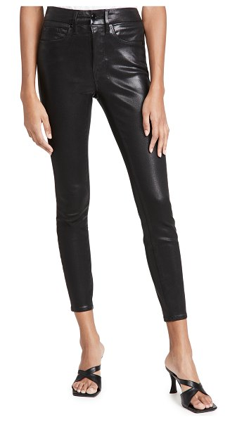 GOOD AMERICAN good legs leather like coated jeans in black103