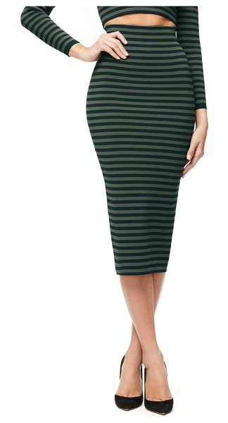 GOOD AMERICAN stripe pencil skirt in navy and hunter stripe
