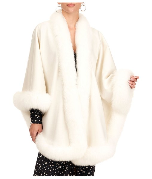 Gorski Cashmere Capelet with Fox Fur Trim in ivory