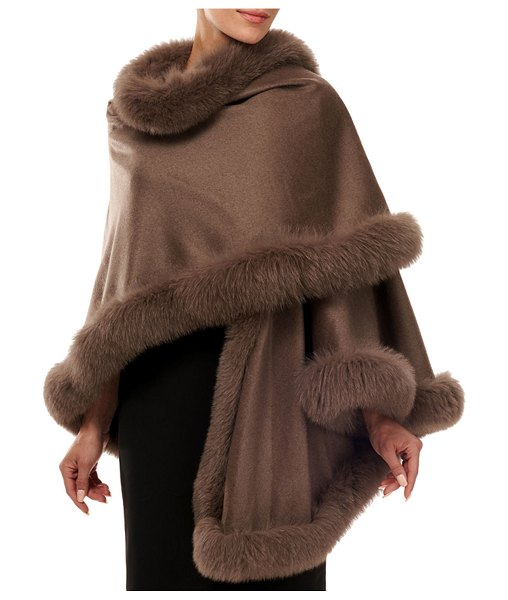Gorski Cashmere Capelet with Fox Fur Trim in brown