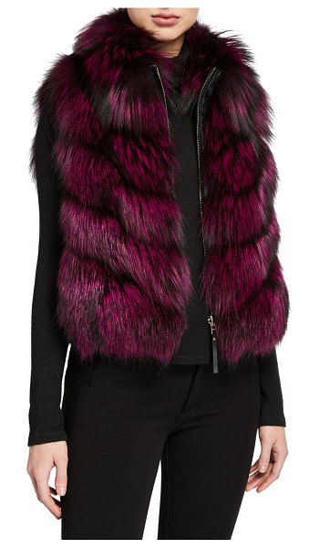 Gorski Nylon & Fox Fur Reversible Chevron Vest in fuchsia/black
