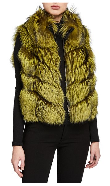 Gorski Nylon & Fox Fur Reversible Chevron Vest in lime/black