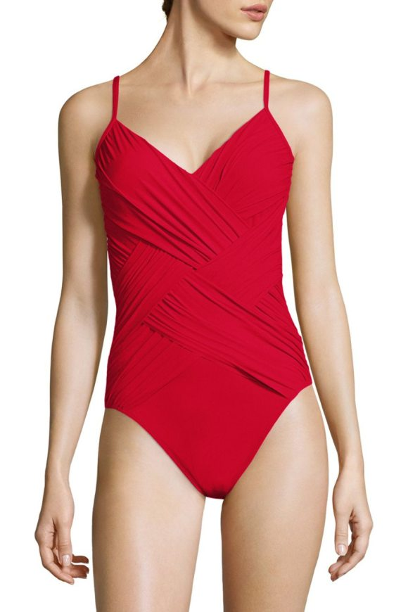 GOTTEX SWIM one-piece wrapped swimsuit - From the Lattice Collection. Knit one-piece swimsuit with...