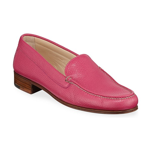 Gravati Pebbled Leather Venetian Loafer in pink