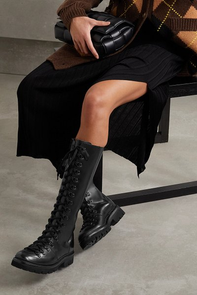 Grenson nanette high leather knee boots in black
