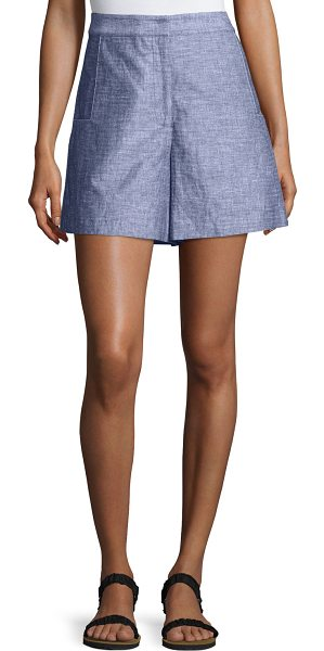 Jason Wu Grey High-Waist Double-Face Chambray Shorts in light indigo - GREY Jason Wu double-face chambray shorts. Back welt...