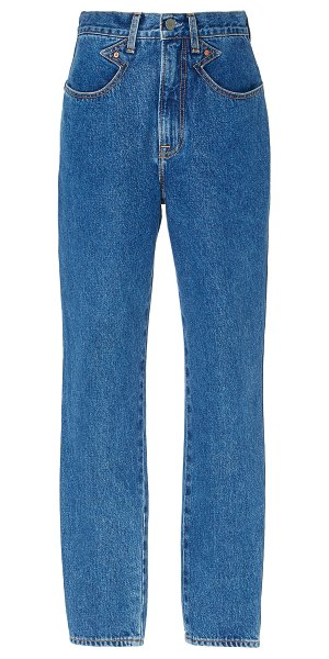 GRLFRND Denim rossana high-rise straight-leg jeans in medium%20wash