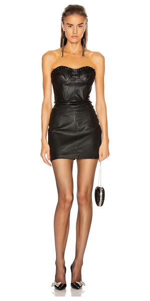 GRLFRND julietta leather mini dress in black