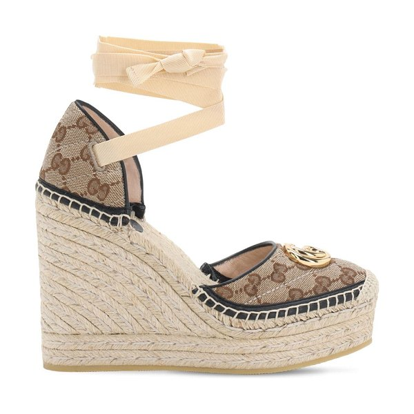 Gucci 120mm pilar quilted canvas espadrilles in brown,black