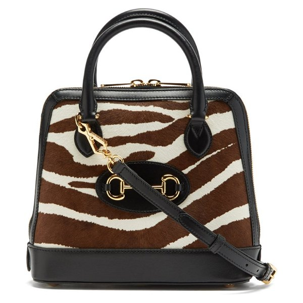 Gucci 1955 horsebit small zebra-print cross-body bag in white black