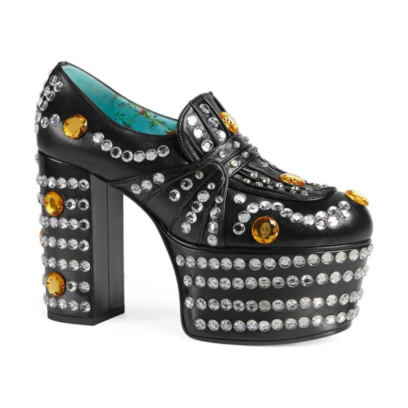 20f0c9b2998 Gucci Amilna Crystal-Studded Leather Platform Loafers in Black ...