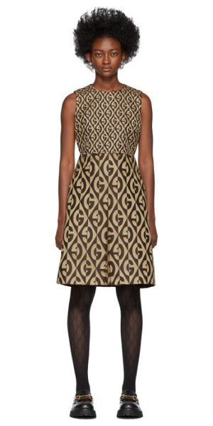 Gucci beige and brown gg dress in 2068 beige