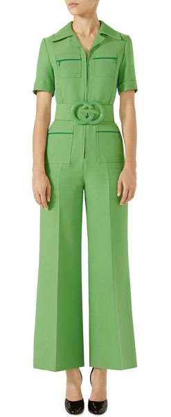 7bfd18f2073 Gucci Belted Wide Leg Wool & Silk Cady Jumpsuit in Green   Shopstasy