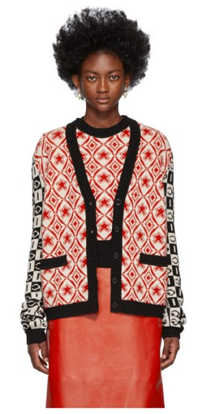 Gucci black and red colourblocked g cardigan in 6269 blred