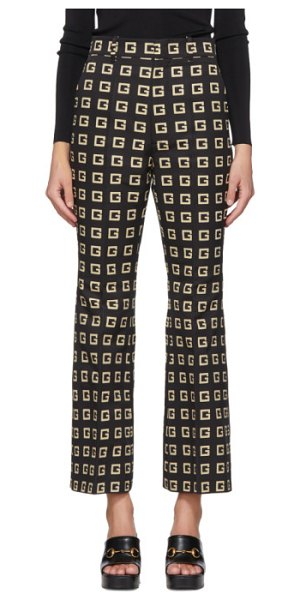 Gucci black square g flared trousers in 1060 black