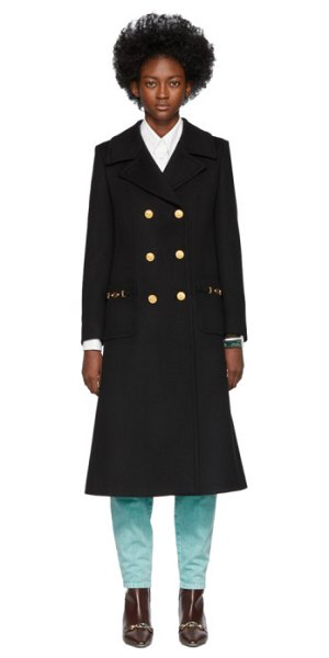 Gucci black wool double-breasted coat in 1000 black