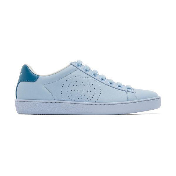 Gucci blue interlocking g new ace sneakers in 4971 blue