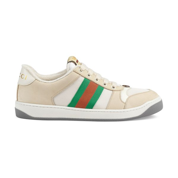 Gucci clean screener sneakers in mystic white