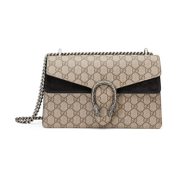Gucci Dionysus GG Supreme Small Shoulder Bag in black/beige