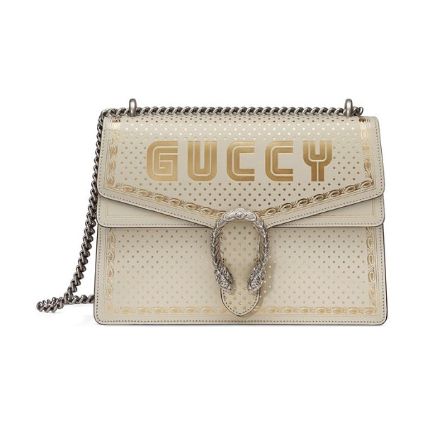 Gucci dionysus moon & stars leather shoulder bag in white - Fresh from Gucci's spring 2018 collection, classic...