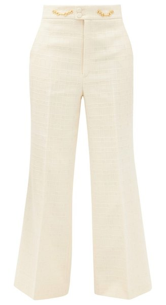 Gucci flared high-rise cotton-blend tweed trousers in ivory